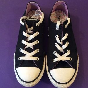 CONVERSE GIRLS ALL STAR DOUBLE TONGUE BLACK size 4
